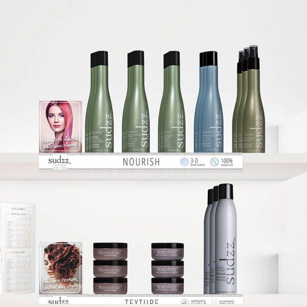 Sudzzfx Products in Shelf Salon Indah Long Beach